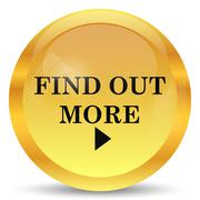 Find out more icon. Internet button on white background.. Stock Illustration