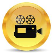 Video camera icon. Internet button on white background.. - stock illustration