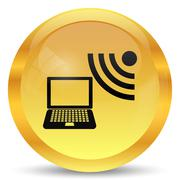 Wireless laptop icon. Internet button on white background.. - stock illustration