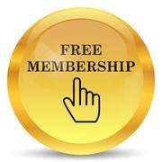 Stock Illustration of Free membership icon. Internet button on white background..
