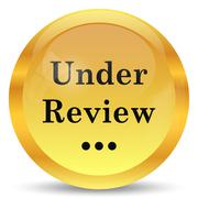 Under review icon. Internet button on white background.. - stock illustration