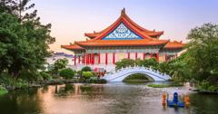 Pond in Chiang Kai Shek Memorial Hall, Taipei, Taiwan (day to night) Stock Footage