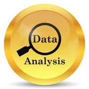 Data analysis icon. Internet button on white background.. - stock illustration
