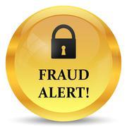Stock Illustration of Fraud alert icon. Internet button on white background..