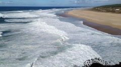 Waves at the beach of Praia do Norte, Nazare (Portugal) Stock Footage