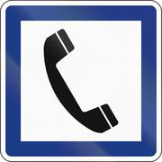 Slovenian Guide road sign - Telephone - stock illustration
