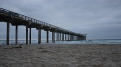 SCRIPPS PIER TIMELAPSE, San Diego Beach, overcast, small waves Stock Footage