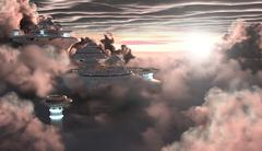Sci-fi City in the Clouds Piirros