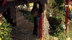 Traditional house entrance in Himalayan region with signs of agriculture Stock Footage