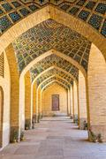 Nasir al-Mulk Mosque arcade hall vertical - stock photo