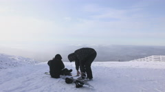 Man going to snowboarding Stock Footage