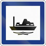 Slovenian road sign - Harbour or Port - stock illustration