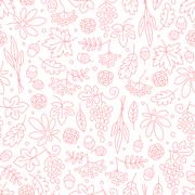 Seamless pattern with grapes, acorns, leaves and flowers. Beautiful background Stock Illustration