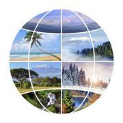 Globe design with photographs nature - stock photo