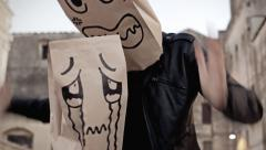 Breadbags angry crying short Stock Footage