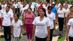 People training on laughter therapy and yoga and dance in Bali, Indonesia - stock footage