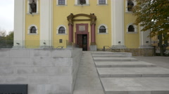 Entrance to the Holy Trinity church in Baia Mare Stock Footage