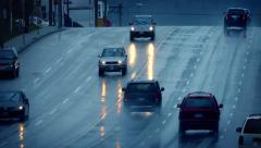 Cars Driving On Wet Road In Rain Shower Stock Footage