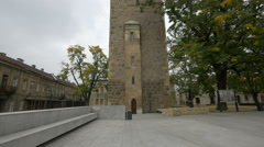 Tilt view of Stephen's tower in Baia Mare Stock Footage