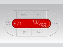 Digital blood pressure monitor with lcd - stock illustration