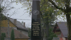 Memorial plaque in memory of the soldiers in Baia Mare Stock Footage
