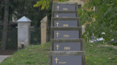 Memorial plaques for Romanian heroes in the Memorial graveyard in Baia Mare Stock Footage