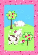 Cute farm animals on a hill embroidery Stock Illustration