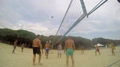 Volleyball players on the beach SLOW MOTION Stock Footage