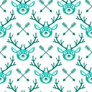Hipster seamless pattern with deer and arrows Stock Illustration
