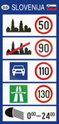 Slovenian road sign - General Speed Limits sign used at border crossings into Stock Illustration