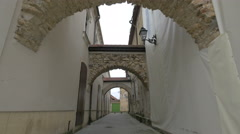 Medieval arches near Iancu de Hunedoara house in Baia Mare Stock Footage