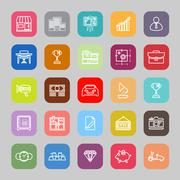 Asset and property line flat icons - stock illustration