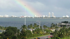 Perfect Rainbow in Miami Bay Stock Footage