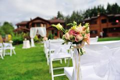 Green lawn for wedding ceremony. Stock Photos