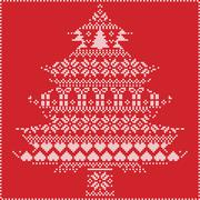 Stock Illustration of winter pattern in chritsmas tree shape on red background