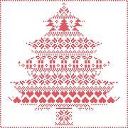 winter pattern in chritsma tree shape - stock illustration