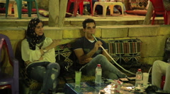 Hookah Bar In Egypt, Cairo Stock Footage