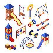 Playground Icons Set Stock Illustration