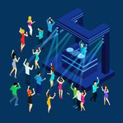Stock Illustration of Dancing People Isometric Illustration