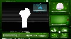 Benin - computer monitor - green 0 Stock Footage
