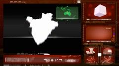 Burundi - computer monitor - red 0 Stock Footage