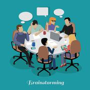 Meeting and Discussion Briefing - stock illustration