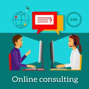 Online Consulting Design Flat Concept - stock illustration