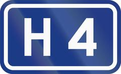 Slovenian road sign - Expressway number H 4 - stock illustration