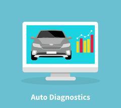 Auto Diagnostics Monitor Flat Concept Stock Illustration