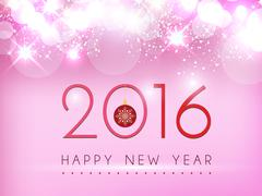 New year on pink glow background vector design - stock illustration