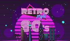 Stock Illustration of Retro style 80s disco design neon