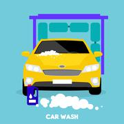 Car Wash Flat Concept Icon Piirros