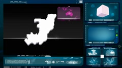 Congo, republic of (brazzaville) - computer monitor - blue 0 Stock Footage