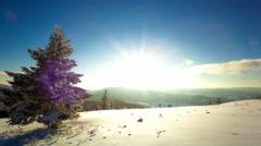 Sundown time lapse in winter mountain Stock Footage